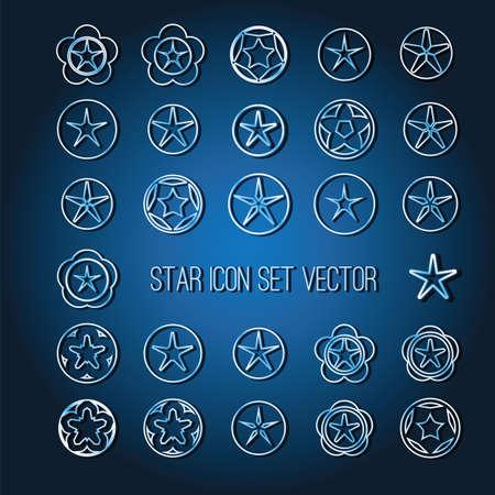 bright star: bright star icon set on dark blue background vector illustration