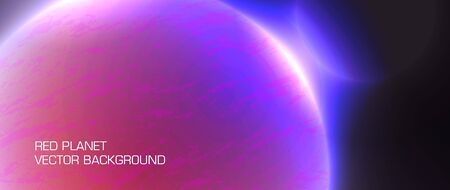 red planet abstract futuristic vector horizontal background Illustration