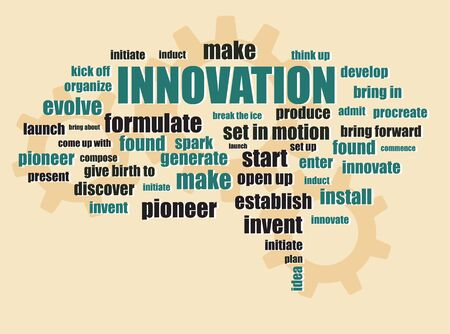 bring up: innovation new idea concept with brain form words and gears background abstract vector illustration