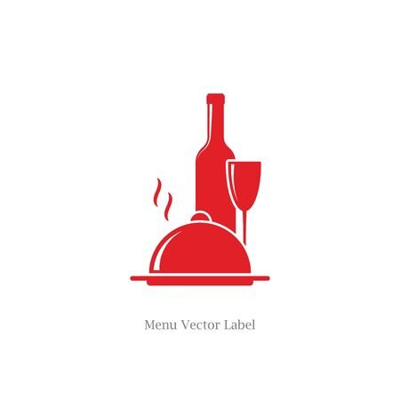 wine and food: wine bottle with wineglass and food dish symbols as restaurant label vector illustration