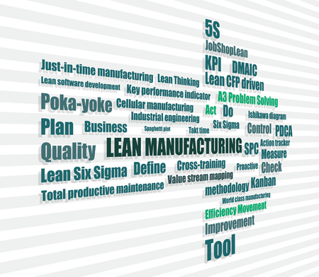 approach: lean manufacturing continuous improvement approach abstract vector illustration