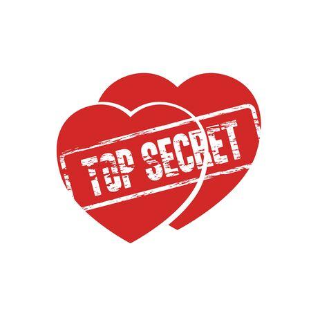 secret word: two hearts top secret stamp as secret love symbol abstract vector illustration