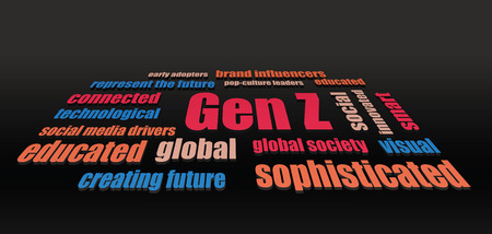 technology collage: generation z characteristics words abstract vector dark horizontal background