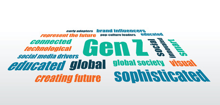 generation z characteristics words abstract vector horizontal background