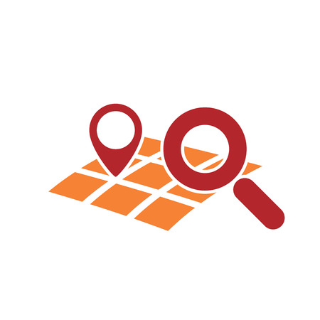searching for: map gps geo mark with magnifying glass symbol as searching for geo location icon abstract vector illustration isolated on white