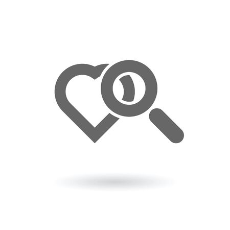 magnifying glass with heart symbols as searching for love icon abstract vector illustration