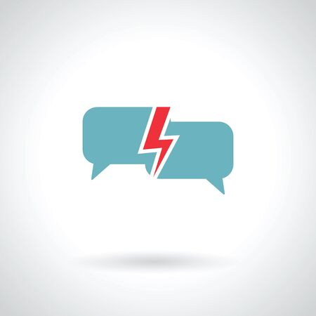 speech bubble with lightning vector illustration Vetores