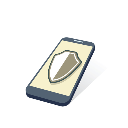 mobile device: mobile device with protection shield security concept vector illustration