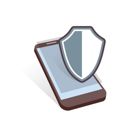 mobile device: mobile device shield security symbol vector illustration Illustration