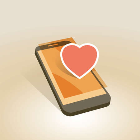 mobile device: mobile device with heart symbol vector illustration
