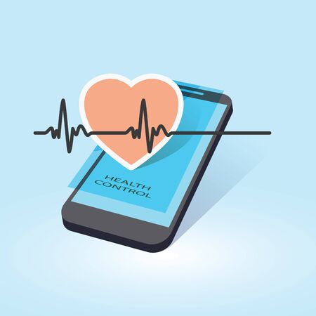 mobile device: mobile device with heart beat symbol as online health control vector illustration