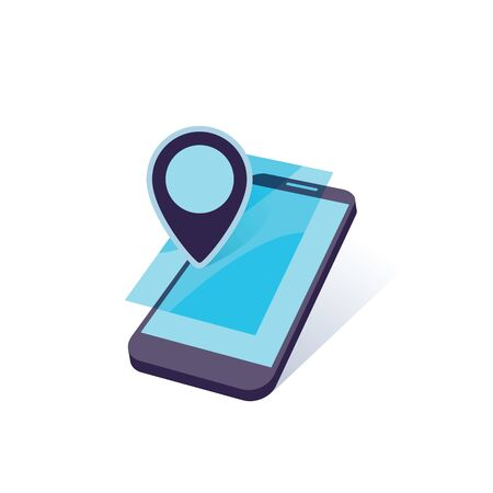 geo: mobile device with geo location mark vector illustration