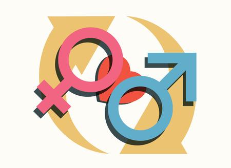 sympathy: male female heart cycling symbols modern relationship gender concept vector illustration Illustration