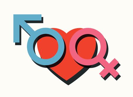 sympathy: male female and heart symbols love romance concept vector illustration
