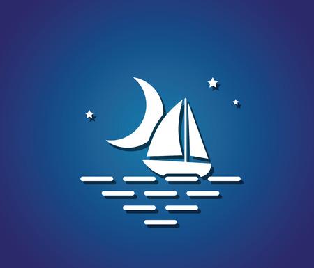 sea water: moon stars boat sea symbol water travel vector illustration