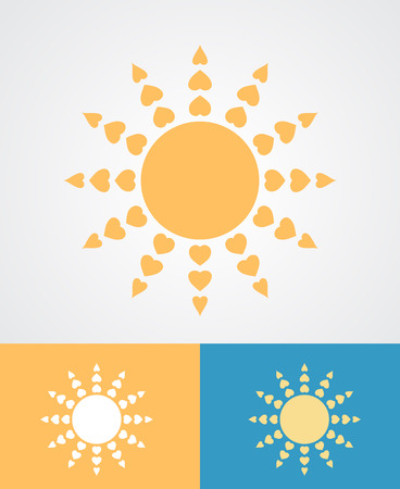 hearty: hearts as sun rays abstract love radiation concept vector illustration