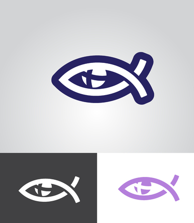 pez cristiano: christian fish as eye symbol with cross in eyeball as christian emblem abstract vector illustration
