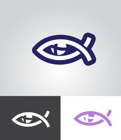 pez cristiano: pescados cristianos como símbolo del ojo con la cruz en el globo ocular como ilustración vectorial resumen emblema cristiano