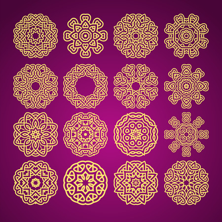 yelllow: mandala flower motif with heart symbol abstract pattern set vector bright yelllow on dark violet background illustration