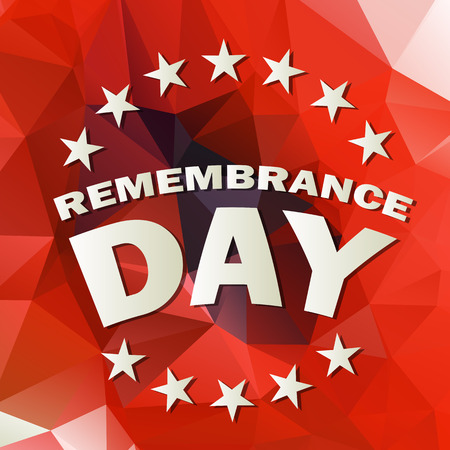 armistice: abstract low poly red background with remembrance day text vector illustration Illustration