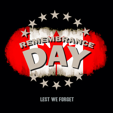 Grunge canadian flag on dark background with Remembrance Day and Lest we forget text memorial vector illustration Illustration