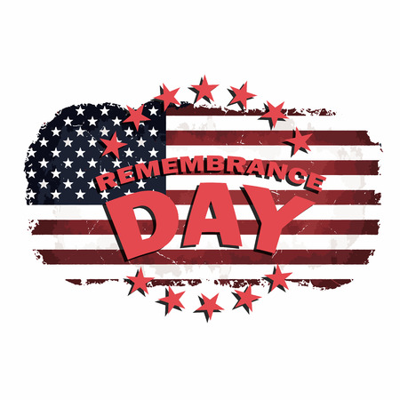 honoring: us grunge style flag with remembrance day text vector illustration