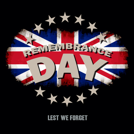 commemoration day: Grunge Great Britain flag on dark background with Remembrance Day and Lest we forget text memorial vector illustration