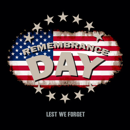 pearl harbor: Grunge US flag on dark background with Remembrance Day and Lest we forget text memorial vector illustration