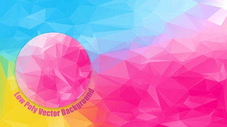 horizontal format horizontal: low polygonal bright color horizontal 1920x1080 hd size format background with pink circle abstract backdrop vector illustration