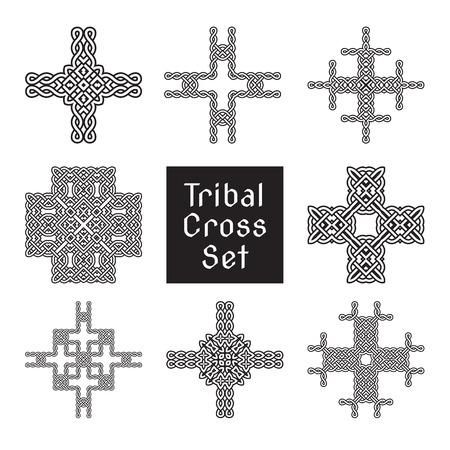 ancient ireland celtic cross: tribal cross set ancient ornament vector illustration Illustration