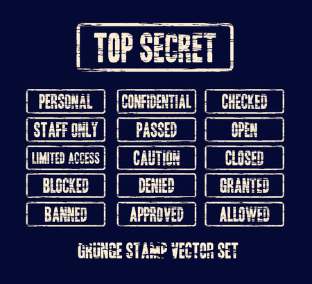 granted: top secret grunge stamp vector set on dark background