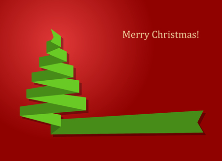 chrismas card: merry chrismas card with green ribbon as xmas tree on red background vector illustration