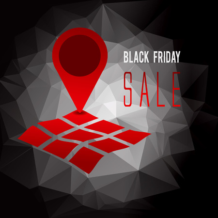 retail place: Black Friday sale promo text withgeo tag symbol on map advertising vector illustration Illustration