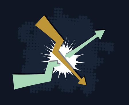 breaks: falling down trend breaks upcoming trend financial crisis concept abstract vector illustration Illustration