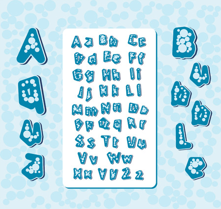 english letters: aqua bubble stylized handwritten letters english alphabet characters vector illustration