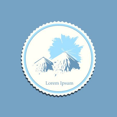 sunrise mountain: snowy mountain sunrise drawing label travel badge vector illustration Illustration