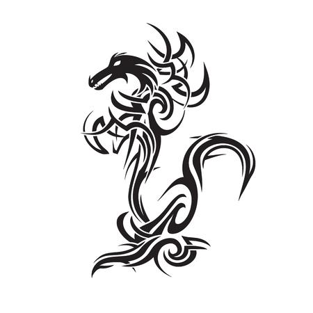 tribal dragon tattoo art vector illustration