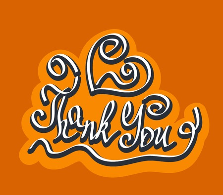 caligraphy: Thank You quote hand drawn caligraphy lettering positive inscription label vector illustration