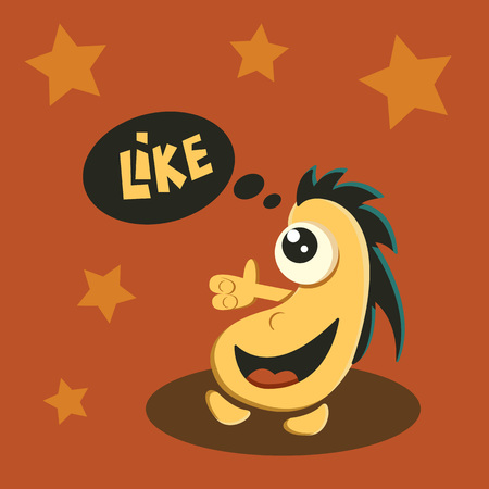 like it: Like it symbol sign. Cute funny cartoon Illustration