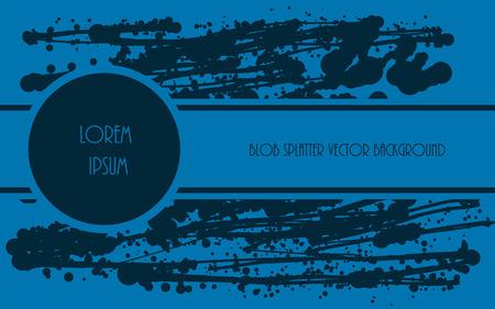 paint drop: Drop paint blob design. Grunge vector background. Splatter blue paint. Horizontal wallpaper template.