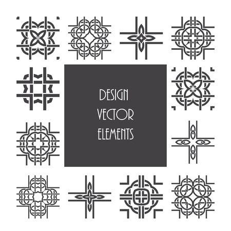 knotwork: Celtic knot ornament design set. Abstract vector pattern elements.