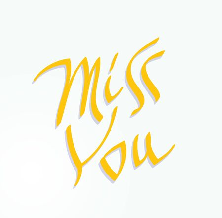 miss you: Miss You inscription text. Hand written lettering decorative love message. Valentines holiday typography.