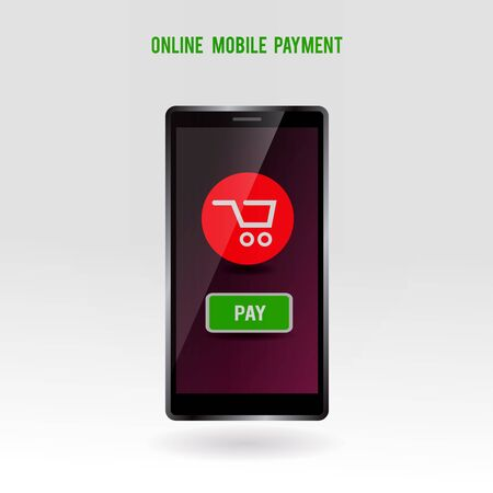 technology transaction: Mobile online payment service. Modern phone technology buying over internet concept. Purchase symbol on smartphone screen. Vector illustration.