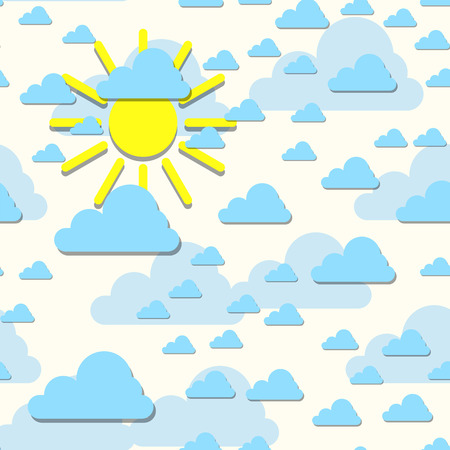 meteorological: Clouds with sun backdrop. Vector illustration. Abstract cartoon cloudscape decorative background. Cloud repetition yellow sun scrapbook template.