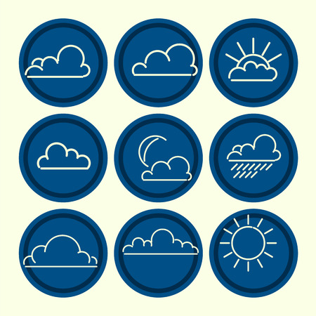 Meteorogical icon set. Clouds sun moon outlines. Vector illustration