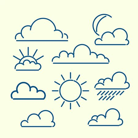 meteorologist: Cloud sun moon rain loutlined icon set. Meteo vector ilustration.