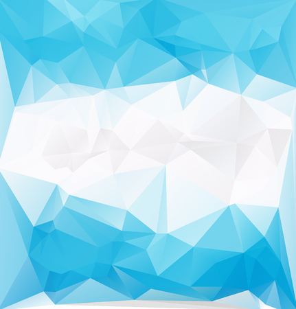 Frozen abstract low-poly pattern. Blue bright ambient background template. Vector illustration. Fantasy decor ice square template.