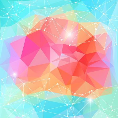 Bright color polygonal vector background. Motion cyber space abstract futuristic pattern. Networking dynamic motion blue red space.
