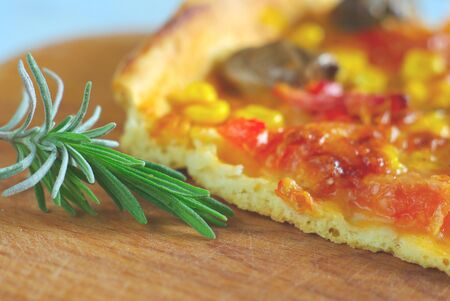 Pizza closeup with spice leaf food background. Baked snack vegetable ingredientd italian kitchen. Homemade fresh hot tasty eating macro.
