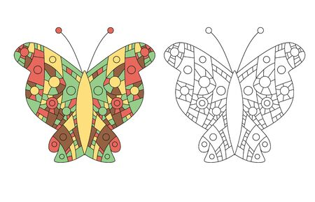 Coloring page for adult zentangle anti-stress drawing. Butterfly colored and outlined templates. Vector illustration. Illustration